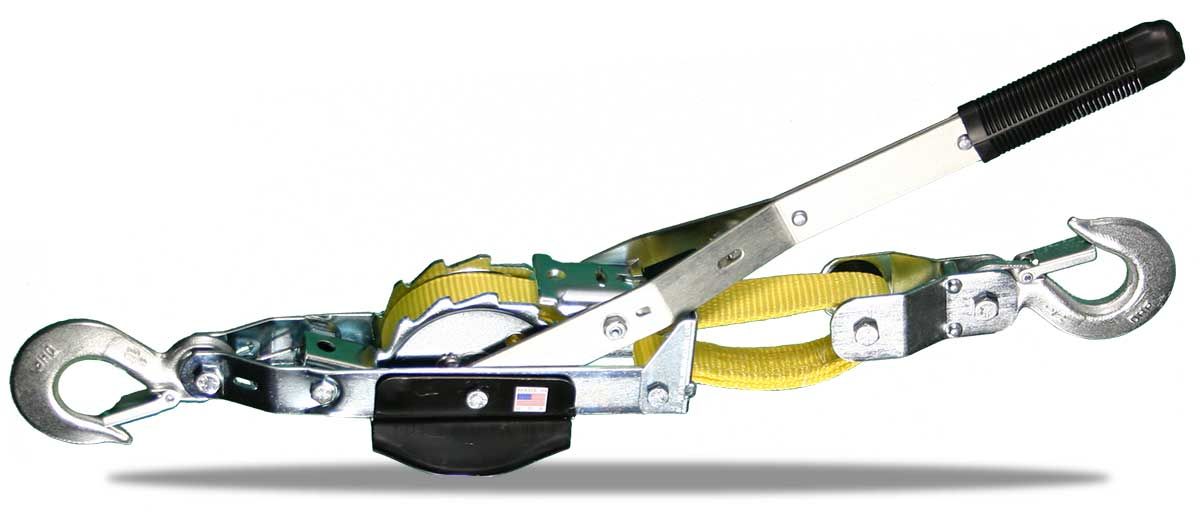 WEB-STRAP HOIST PULLER | Small Frame Puller TT2-4W 2000 lbs lift/4000 lbs pull /4 ft double line  / 25 ft. single line, 4 ft. take-up | Tuf-Tug Products