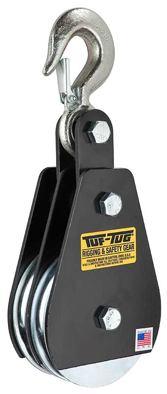 "Double Safety Hook Block DSB-1000H | 2"" Dia. Double Sheave Blocks 1000 lb. Capacity 7/32"" maximum cable size 