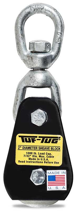 "Eye — SB1000E | 2"" Dia. Sheave Blocks 1000 lb. capacity 7/32"" maximum cable size | Tuf-Tug Products"
