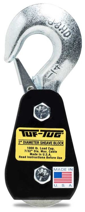 "Hook — SB1000H | 2"" Dia. Sheave Blocks 1000 lb. capacity 7/32"" maximum cable size | Tuf-Tug Products"