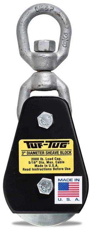 "Eye — SB2000E | 3"" Dia. Sheave Blocks 2000 lb. capacity 5/16"" maximum cable size | Tuf-Tug Products"