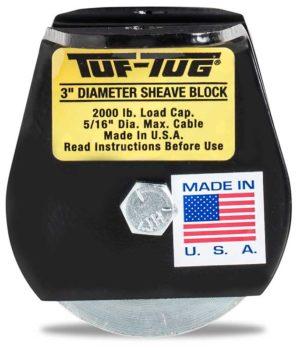 "Flat — SB2000FM | 3"" Dia. Sheave Blocks 2000 lb. capacity 5/16"" maximum cable size | Tuf-Tug Products"