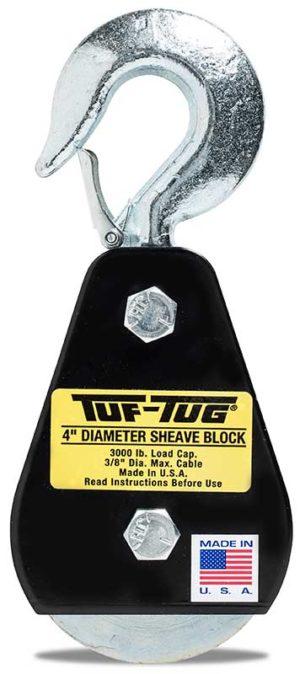 "Hook — SB3000H | 4"" Dia. Sheave Blocks 3000 lb. capacity 3/8"" maximum cable size | Tuf-Tug Products"