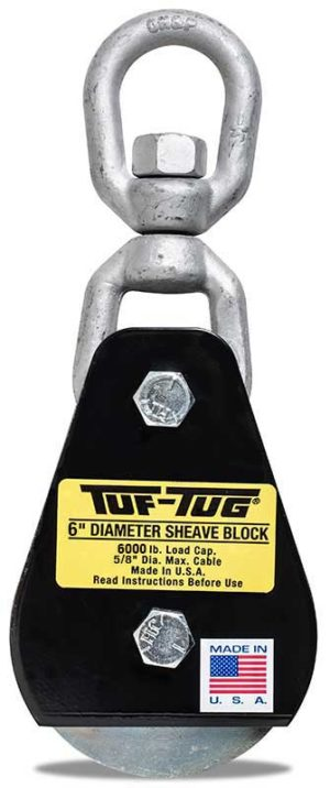 "Eye — SB6000E | 6"" Dia. Sheave Blocks 6000 lb. capacity 5/8"" maximum cable size | Tuf-Tug Products"