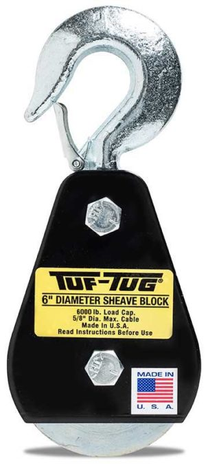 "Hook — SB6000H | 6"" Dia. Sheave Blocks 6000 lb. capacity 5/8"" maximum cable size | Tuf-Tug Products"