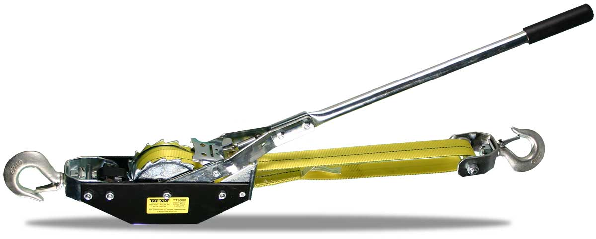 WEB-STRAP HOIST PULLER | Large Frame Puller TT6000-6W 3000 lbs lift/6000 lbs pull / 6 ft double line | Tuf-Tug Products