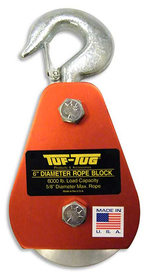 "Hook — ALSB3000H | 4"" Dia. Sheave Blocks 3000 lb. capacity 5/8"" diameter maximum rope 