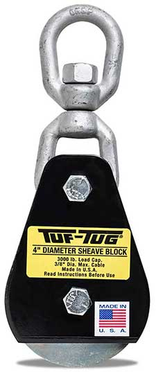 "Eye — SB3000E | 4"" Dia. Sheave Blocks 3000 lb. capacity 3/8"" maximum cable size 