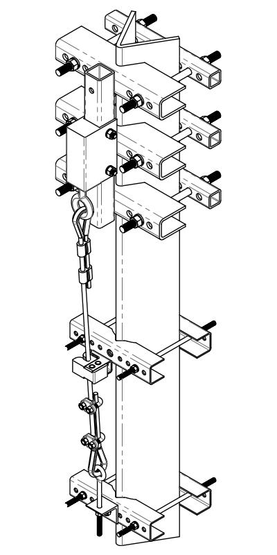Angle Climbing Leg Cable Safe-Climb System Drawing | Safe Climb Fall Protection | Tuf-Tug products