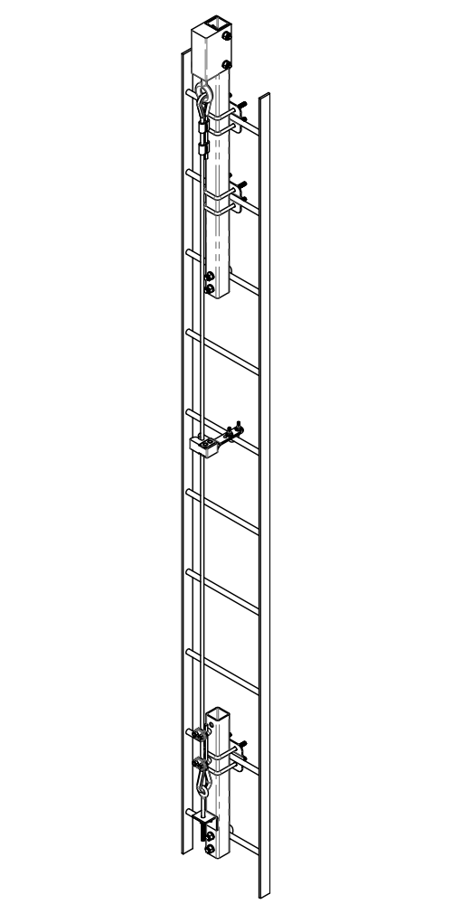 Ladder Mount Cable Safe-Climb System Drawing | Safe-Climb Fall Protection | Tuf-Tug products